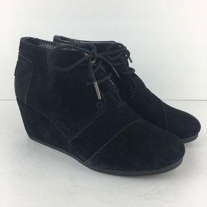 Toms Black Wedge Booties Size 9